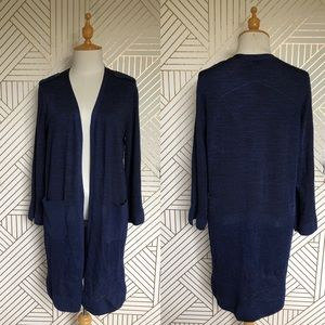 CHICO'S Navy Blue Knit Sweater Duster Pockets